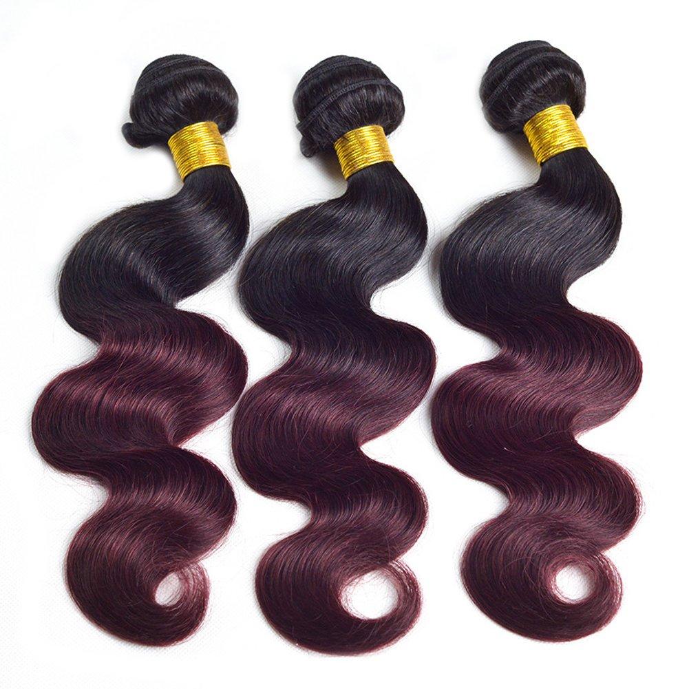 Amazon Black Rose Dark Root Ombre Human Hair Weaves Black To