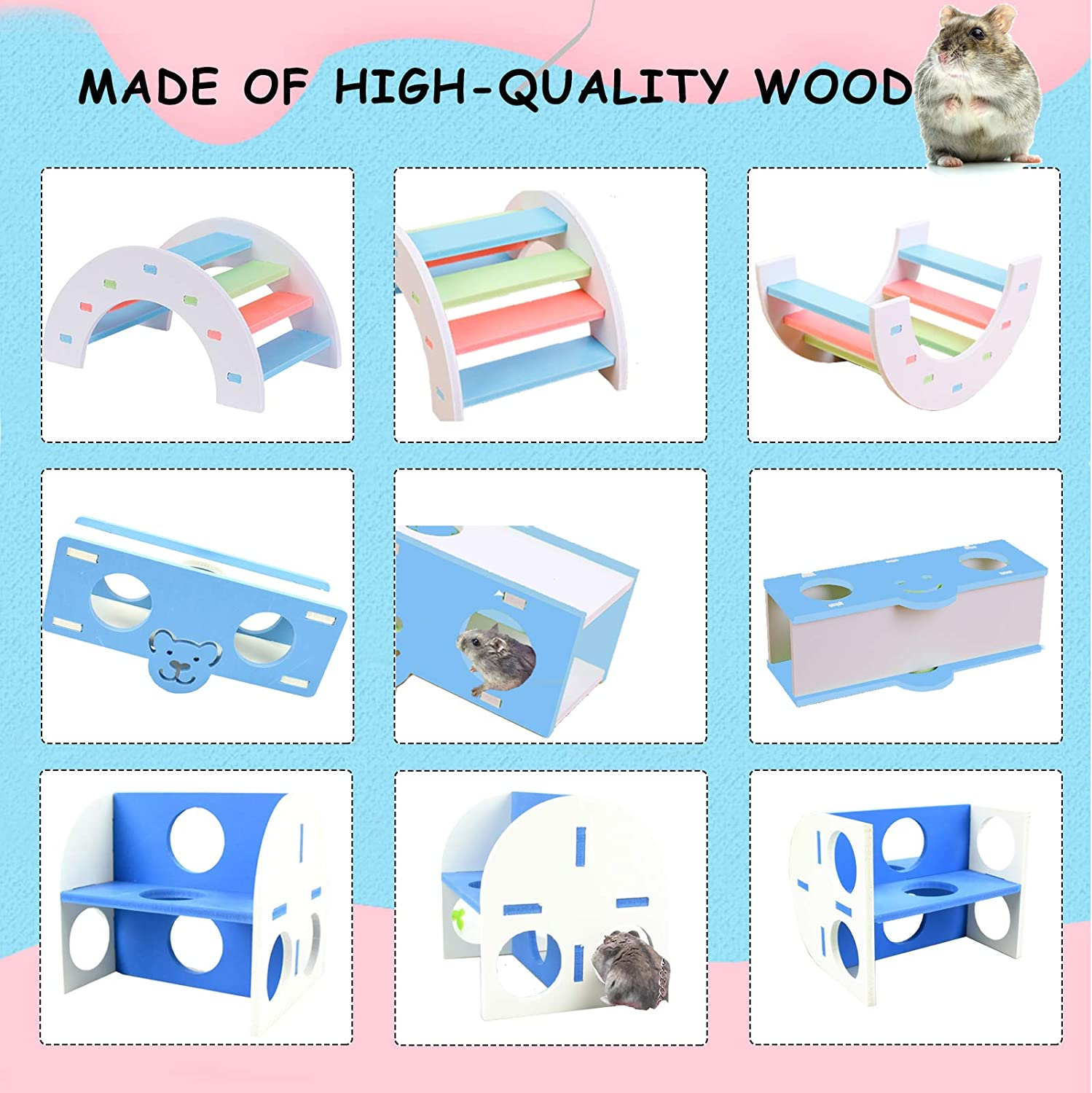 Swing Dwarf Hamster Cage Accessories Suitable for Syrian Hamster and Other Small Animal Hamster Toys Set 5 Pack Wooden Gerbil Hideout Rainbow Bridge Pet Exercise Toys Set and Seesaw