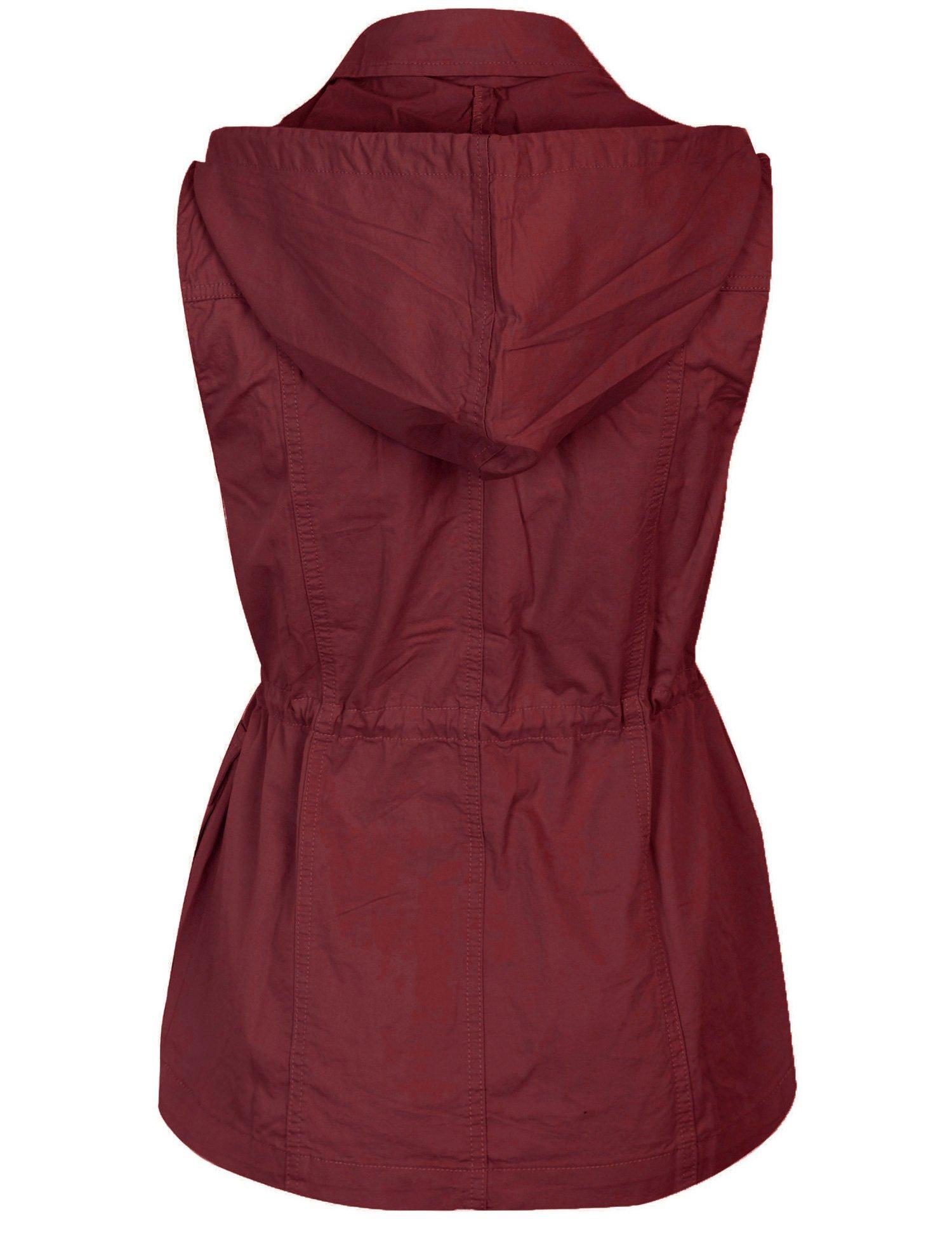 KOGMO Womens Military Anorak Safari Utility Vest with Hood-3X-WINE by KOGMO (Image #3)