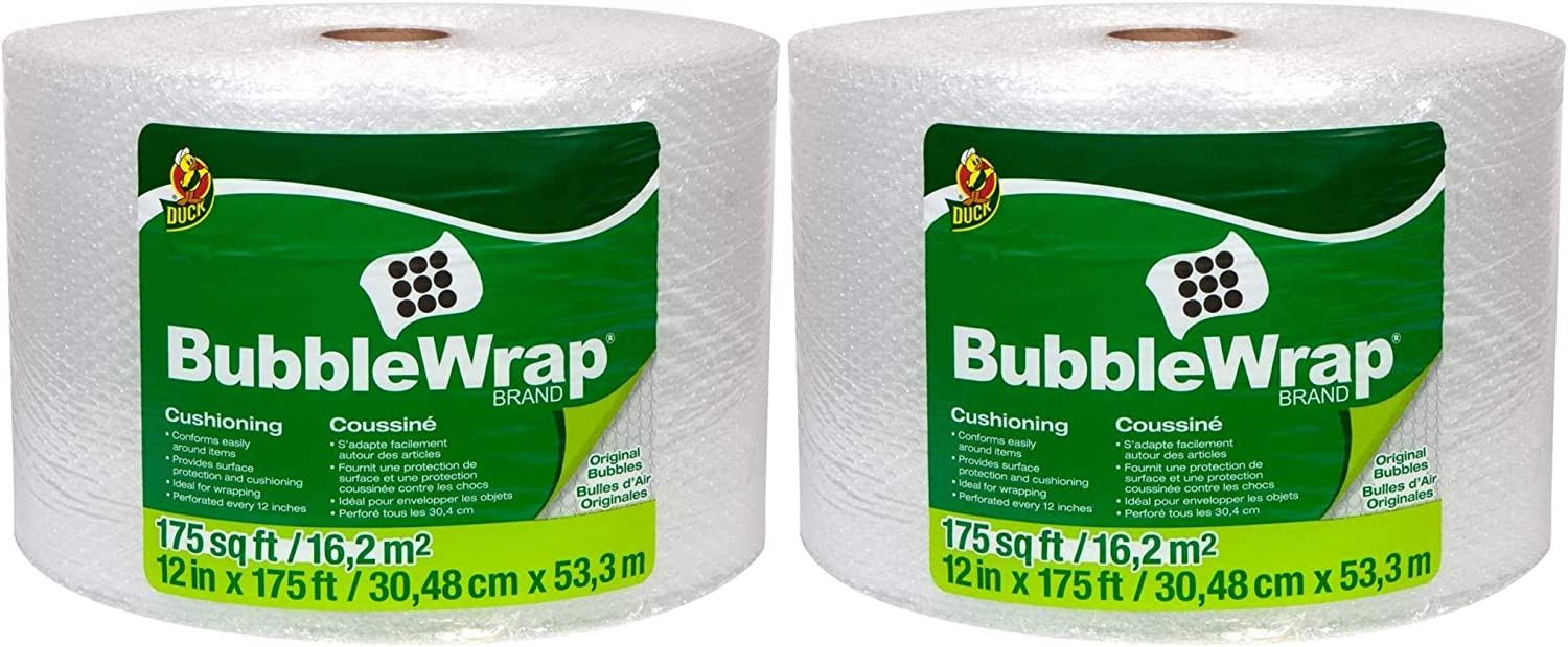 286891 Duck Brand Bubble Wrap Roll Pack of 2 Original Bubble Cushioning Perforated Every 12 12 x 175