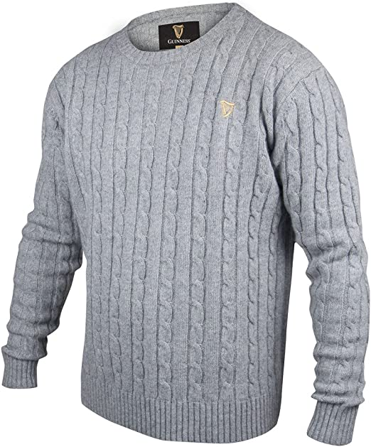 Guinness Grey Cable Knit CottonCashmere Sweater