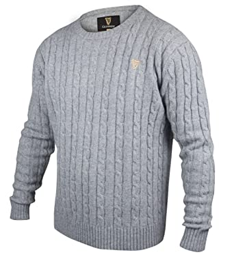 Guinness Grey Cable Knit Cottoncashmere Sweater At Amazon Mens