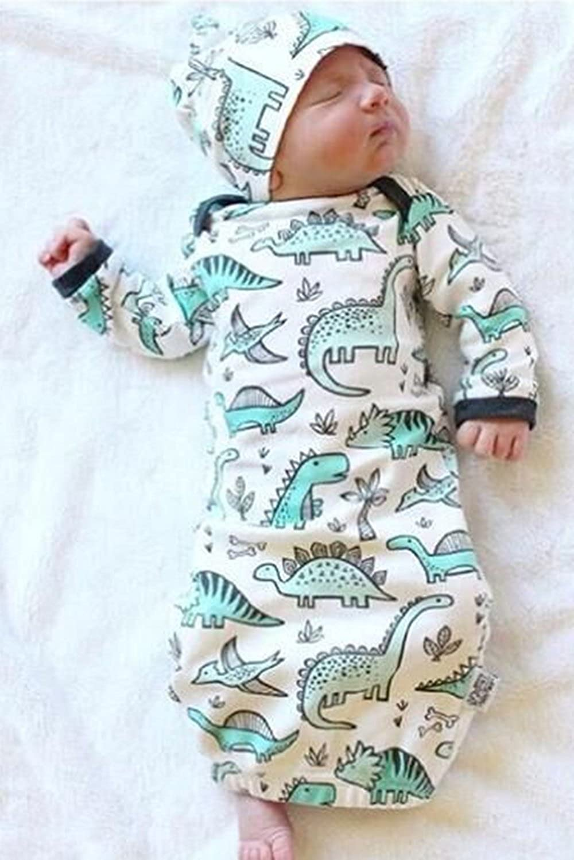 7f1871373fb7 Amazon.com  BANGELY Newborn Baby Cartoon Dinosaur Sleep Gown Swaddle ...