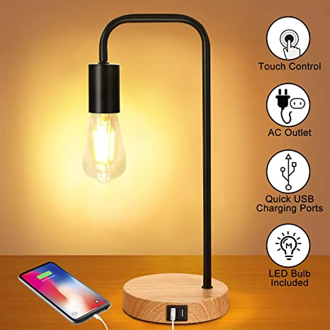 Touch Control Dimmable Table Lamp-Bedside Desk Lamp-Modern Nightstand Lamp for B