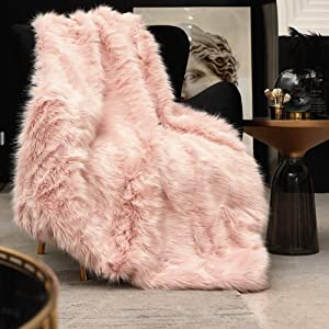Pink Faux Fur Throw Blanket, Luxury Modern Blush Home Throw Blanket, Super Warm, Fuzzy, Elegant, Fluffy Thick Heavy Decoration Blanket Scarf for Sofa, Couch and Bed, 50''x60''