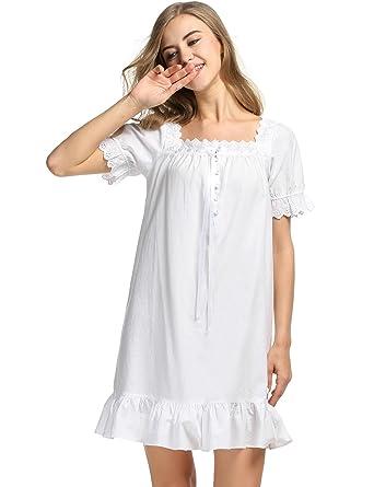 f8cb4942de Avidlove Womens Cotton Victorian Vintage Short Sleeve White Classic  Nightgown Sleepwear,White1,X-