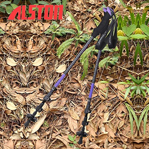 Alston Products - 2 Pack - Hiking / Walking / Trekking Trail Poles Quick Lock - Purple Color