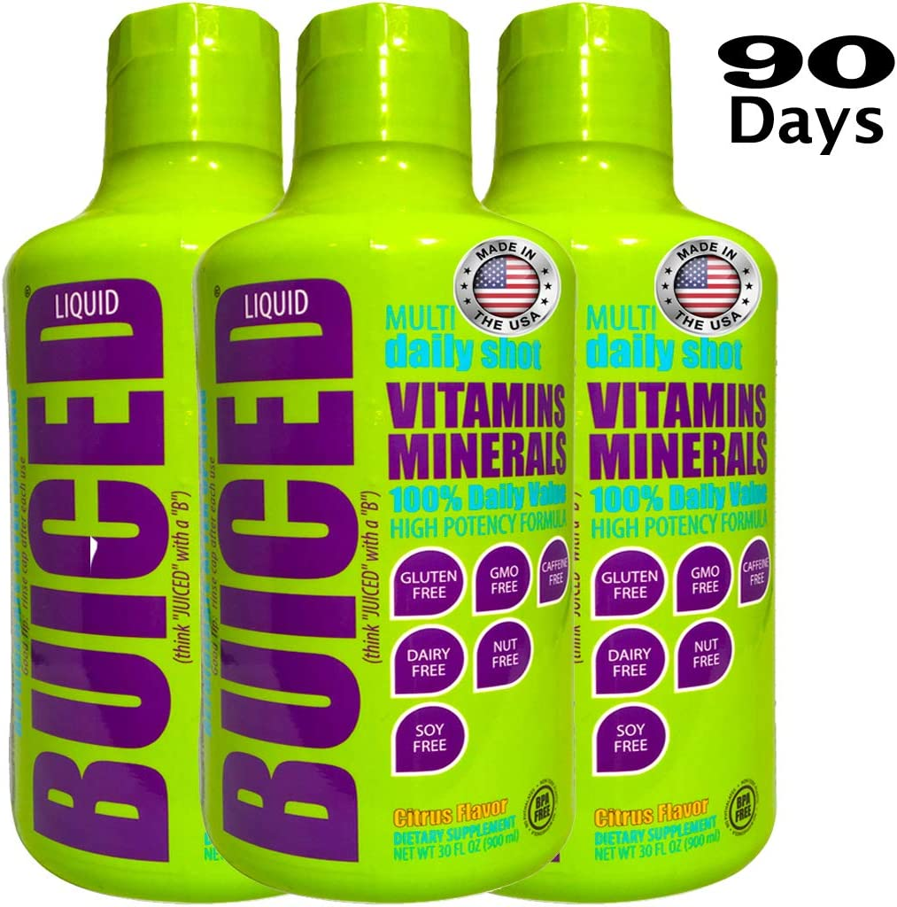 BUICED Liquid Daily Multivitamin 90 Day Supply Gluten Free GMO Free Allergen Free Soy Free BPA Free Paleo Friendly Multivitamin Vegan Friendly Multivitamin 100 Daily Value