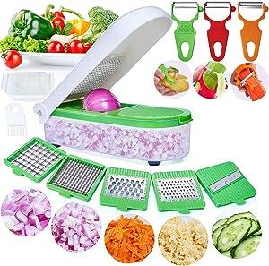 LHS Vegetable Chopper, Pro Onion Chopper Slicer Dicer Cutter Shredded- Cheese & Veggie Chopper Plus Peeler and Julienne - Food Chopper Dicer with 8 Blades