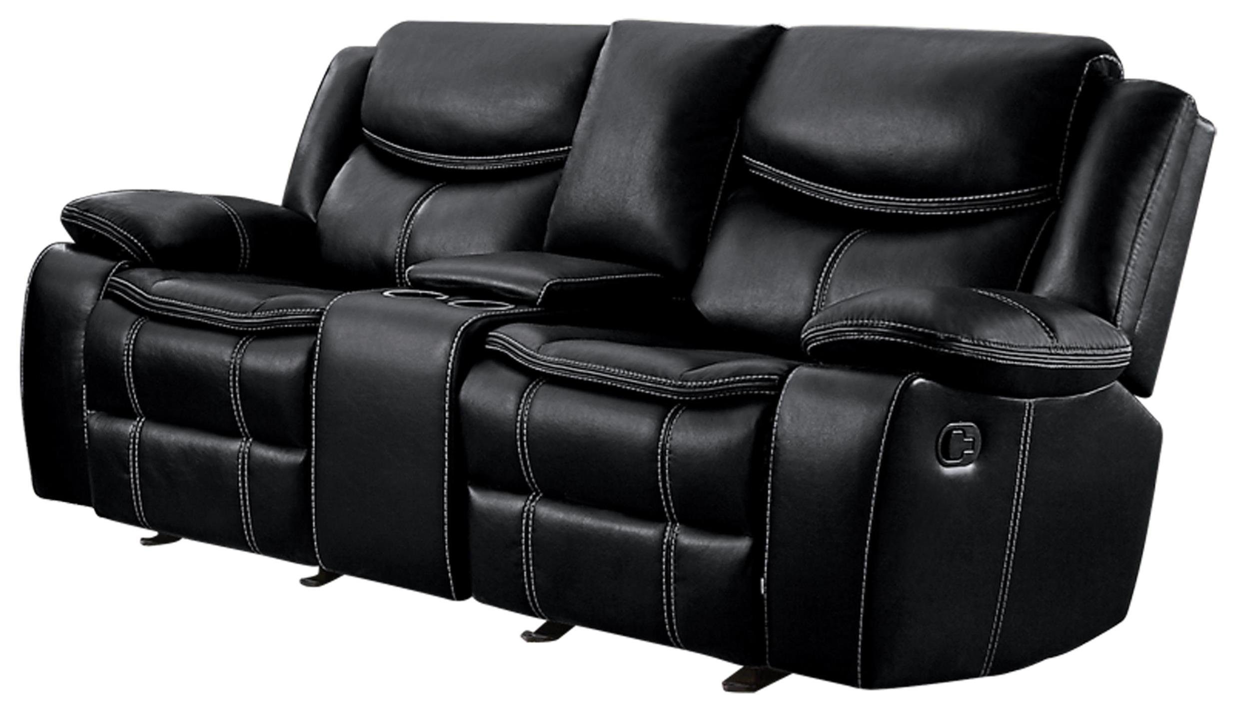 Homelegance Bastrop Double Glider Reclining Loveseat Leather Gel Matched with White Accent Stitching, Black
