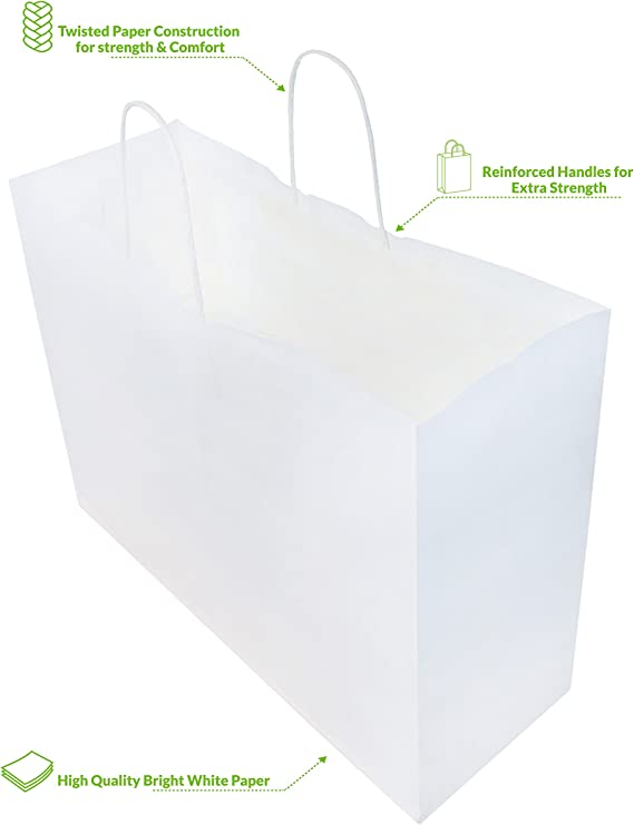 White paper bags 10x20 eligible food contact 1 kg.