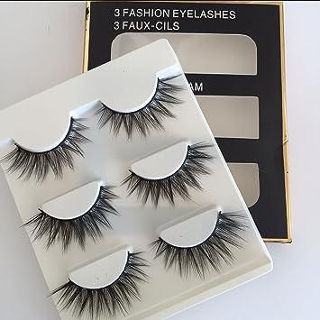 33ef1271169 Amazon.com : Sunniess Hair Imported Fiber 3D Mink False Eye lashes Handmade  Reusable Long Cross Makeup Natural 3D Fake Thick Black EyeLashes 3 Pairs(3D-60)  ...