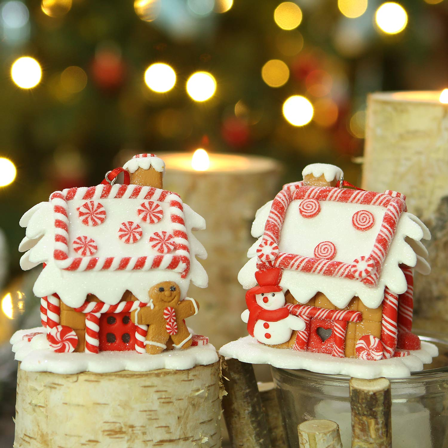 Sea Team Assorted Clay House Ornaments Snow covered Cottage Hanging