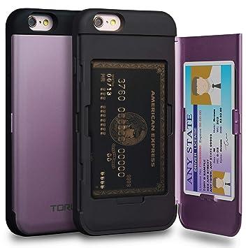 TORU CX Pro Funda iPhone 6S Carcasa Cartera Morado con Tarjetero Oculto y Espejo para Apple iPhone 6S / iPhone 6 - Lavanda
