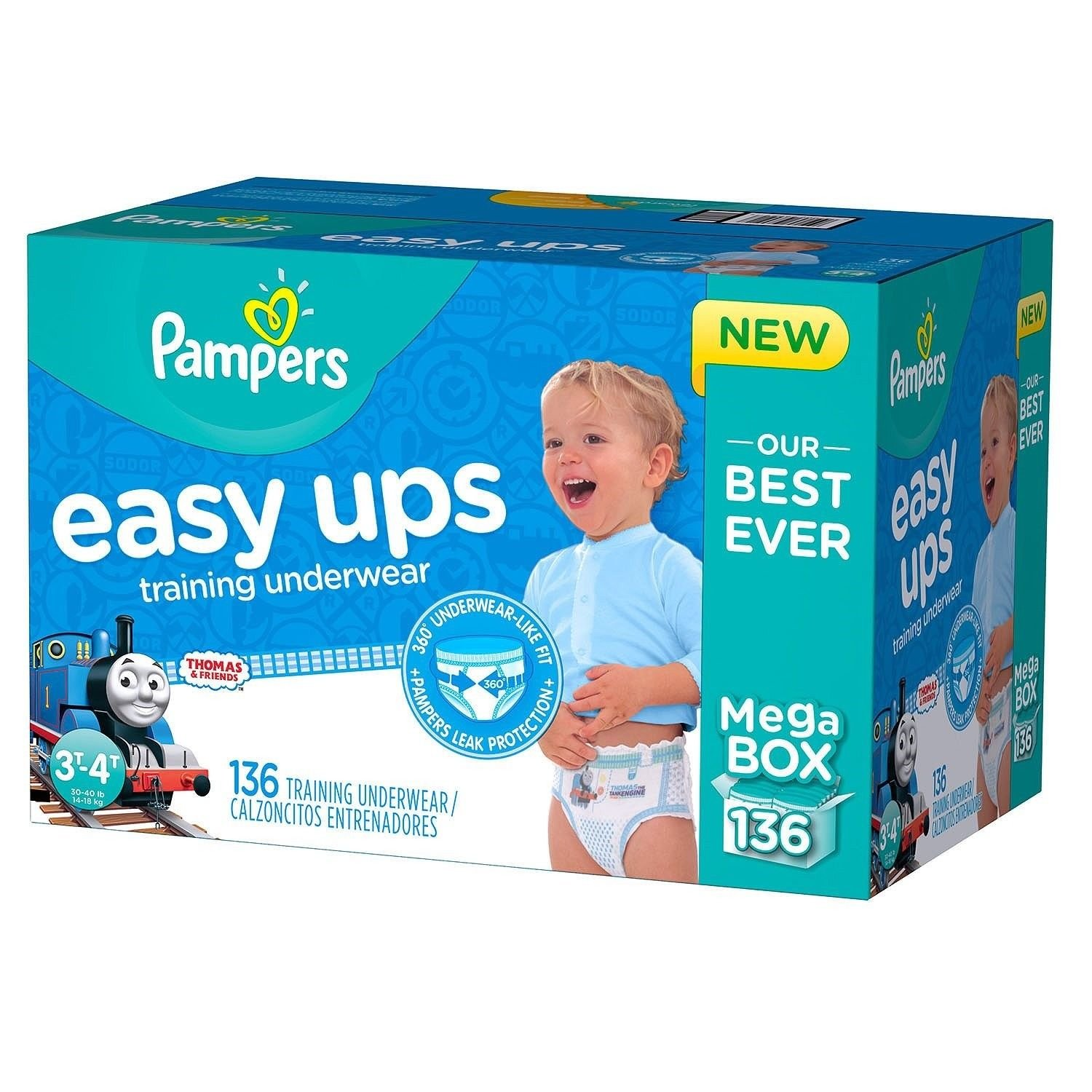 Pampers Easy Ups Thomas the Tank Engine Train Training Underwear for Boys, 3T-4T, 136-Pack