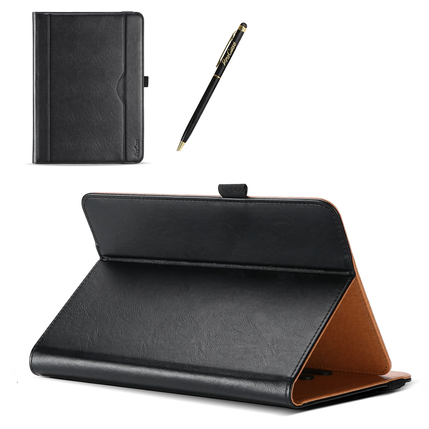 ProCase Universal Case for 9-10 inch Tablet, Stand Folio Case Protective Cover for 9'' 10.1'' Touchscreen Tablet, with Multiple Viewing Angles, Document Card Pocket and Bonus Stylus Pen – Black by ProCase (Image #6)