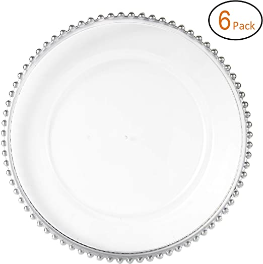 Fantastic: ™ Round 13Inch Charger Plate With Shiny Finish Beaded Pattern