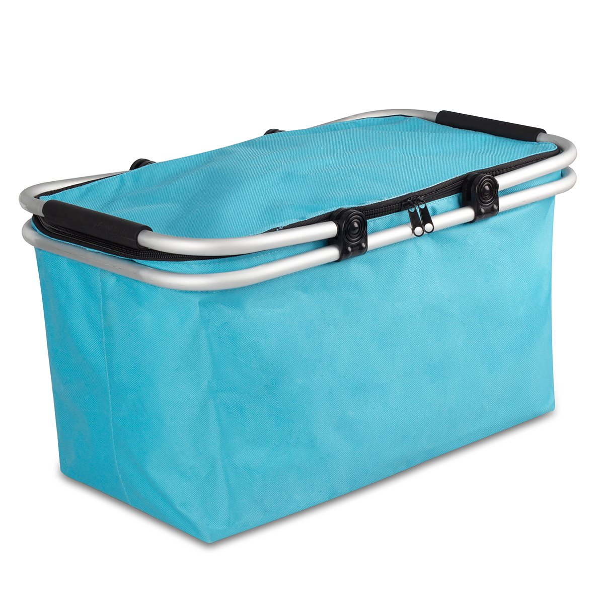 WISHPOOL Oxford Insulated Picnic Basket Lunch Bag Reusable Collapsible Cooler Tote Box for Hiking (Bule)
