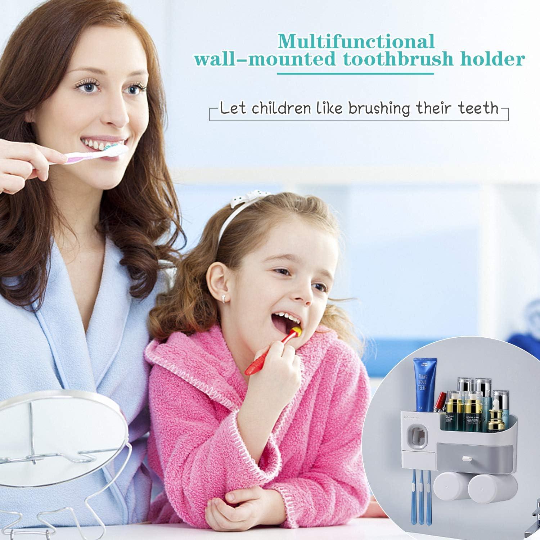Wandmontage Zahnb/ürsten-Organizer 2 Tassen und Schubladen Kosmetik-Organizer f/ür Badezimmer und Waschraum Suksadum Zahnb/ürstenhalter mit automatischem Zahnpastaspender