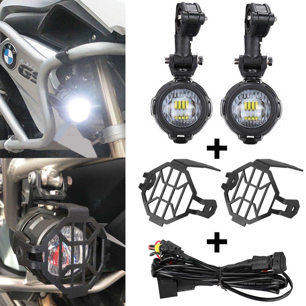 Faretti LED Moto Supplementari (2 pezzi)+Griglie di Protezione Anteriori (2 pezzi) + Kit Cablaggio e Interruttore On/Off Per Motocicletta/Motocicli (1 Pz)-SUPAREE