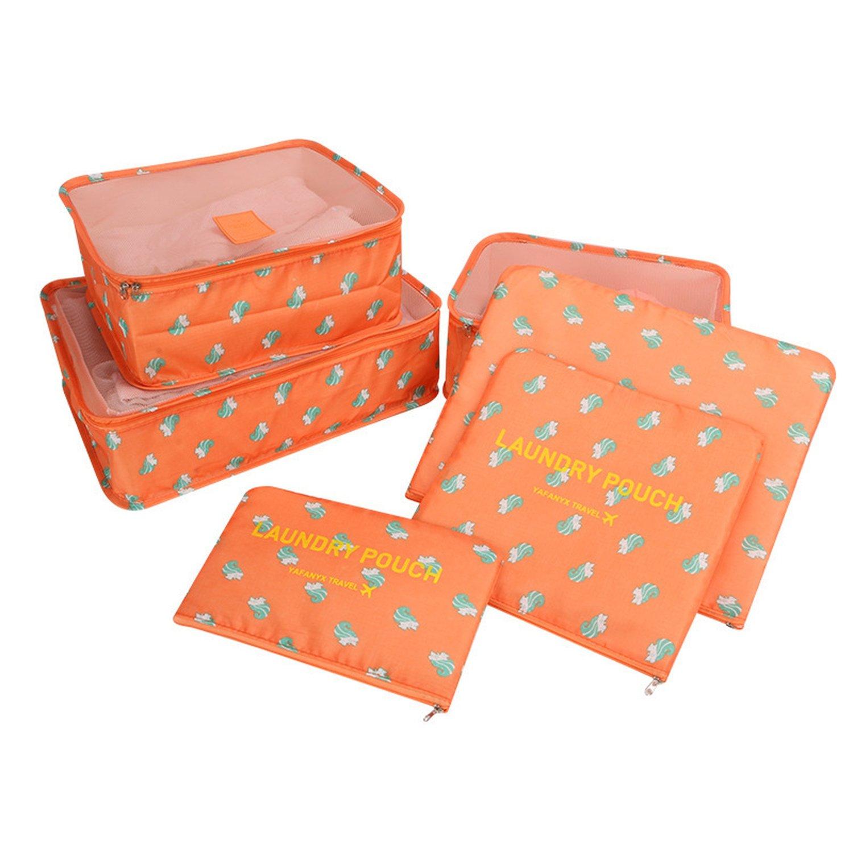 Chiffoned Waterproof Clothes Organizer Household storage Box Underwear Bra Packing Travel Cloth Storage Bag 6pcs/set,Squirrel