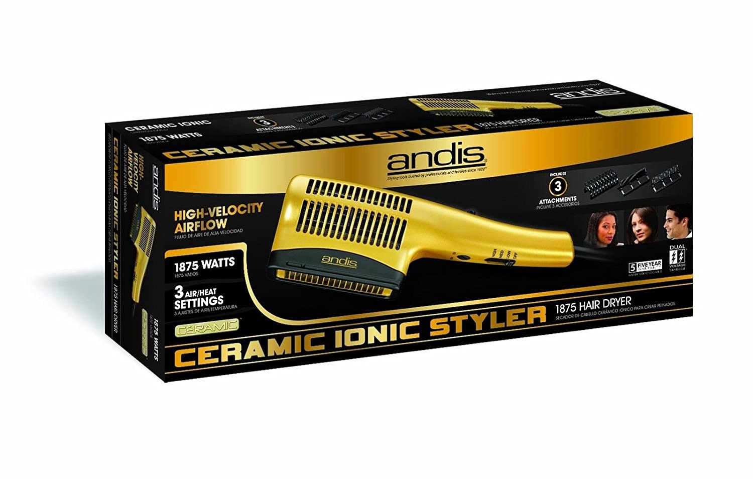 Amazon.com: Ceramic Ionic Styler Hair Blow Dryer Straight Curl Comb Brush Smooth Silky Salon: Health & Personal Care