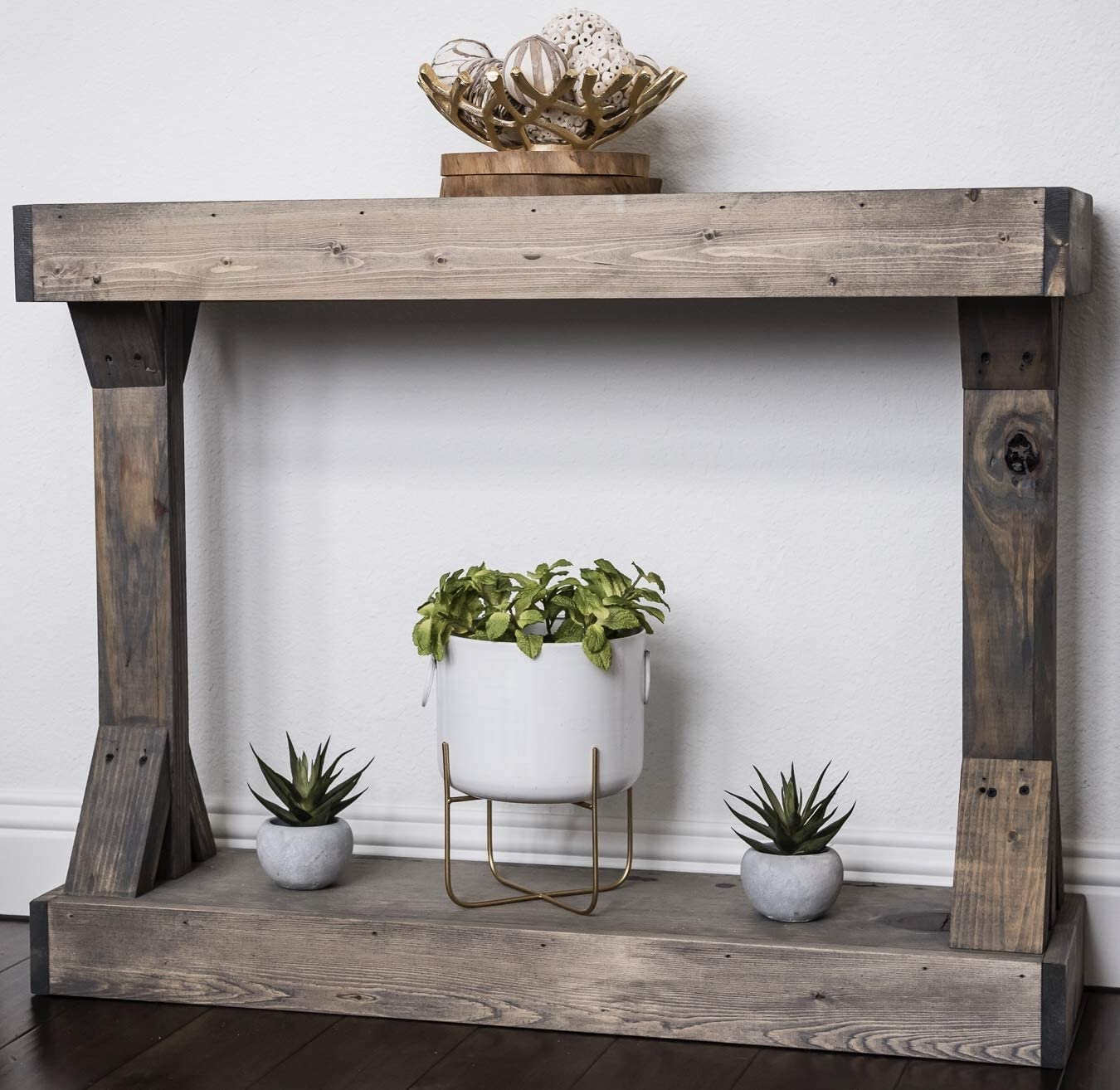 Barb Small Console Table Solid Wood by Del Hutson Designs Grey