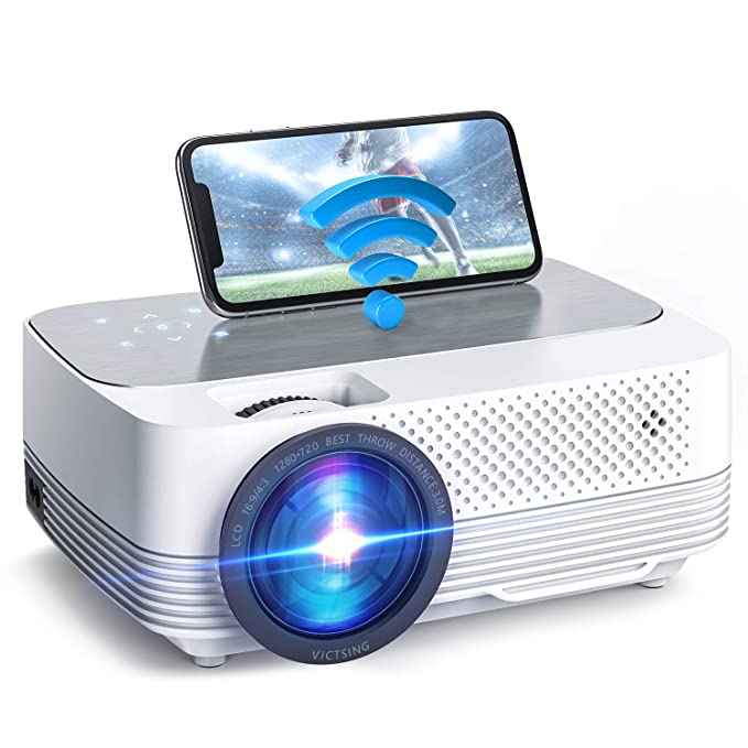 Proyector WiFi, VicTsing Mini proyector portátil, Nativo 1280x720P, 5000LUX LED, Soporte 1080P /Control TACTIL…
