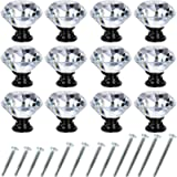 Crystal Drawer Cabinet Knobs Diamond Shaped Crystal Glass Knobs Pulls 30mm for Dresser Kitchen Wardrobe Cupboard (12…