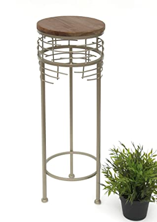 Beistelltisch Modern dandibo blumenhocker aus metall mit holz rund 63 cm 21288