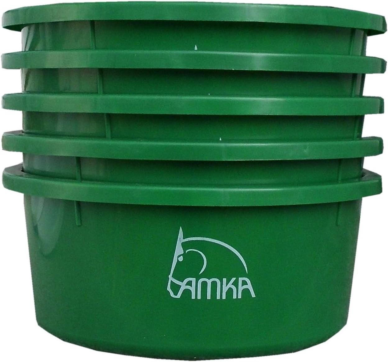 Reitsport Amesbichler AMKA - Juego de 5 cuencos para cereales, 2 L, sin tapa para comedero, cuenco para agua, para caballos, perros, animales, color: verde