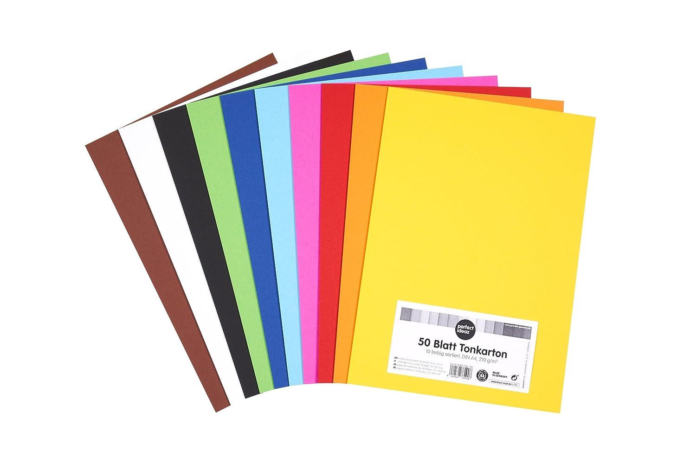 perfect ideaz carta da costruzione, 50 fogli colorati in formato A4, colorazione integrale, disponibili in 10 diversi colori, spessore 210 g/m², fogli di alta qualità spessore 210 g/m² fogli di alta qualità procket