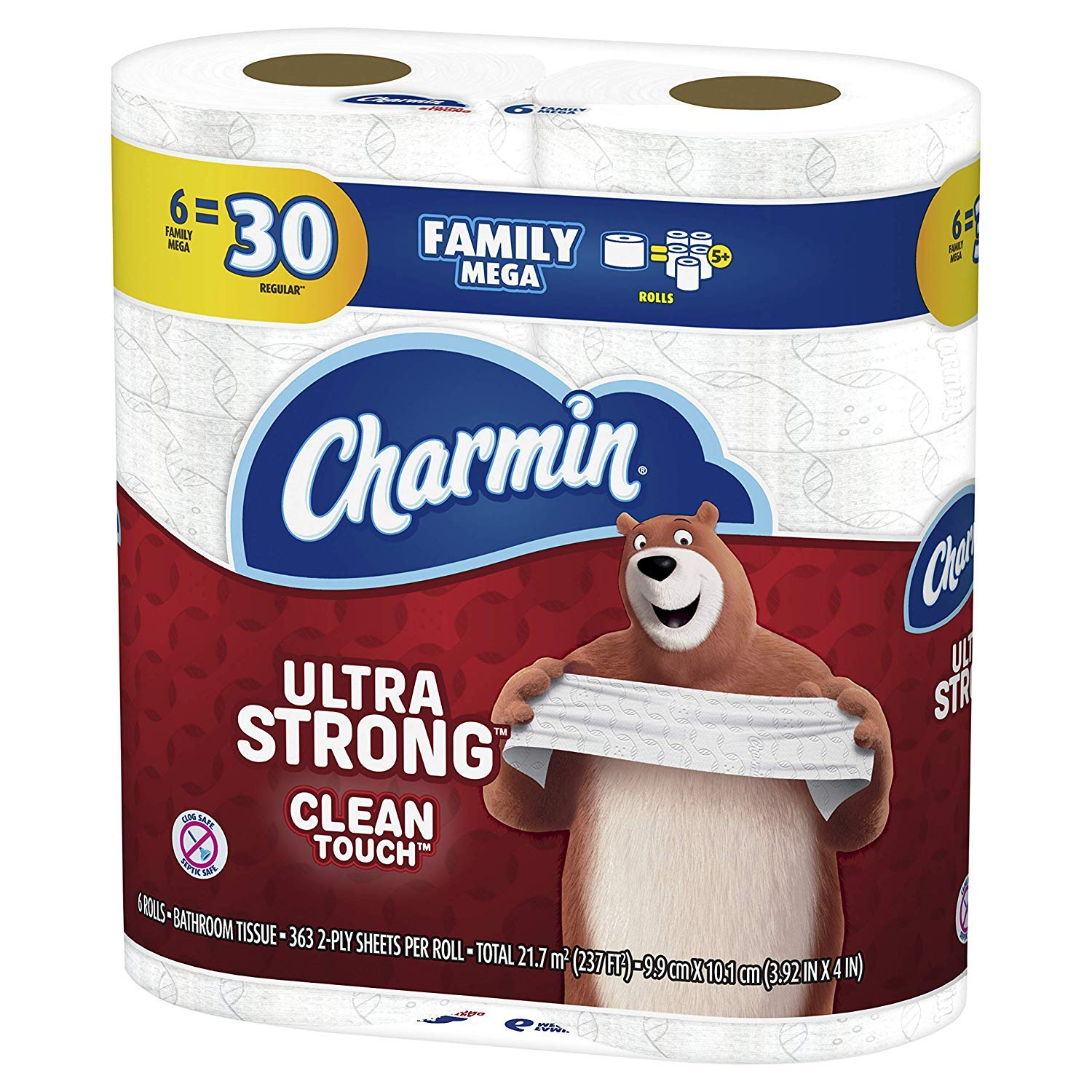 Charmin Ultra Strong Clean Touch Toilet Paper, 6 Family Mega Rolls = 30 Regular Rolls, Prime Pantry by Charmin