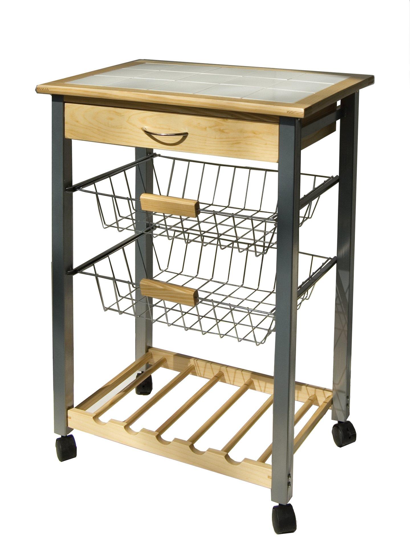 Organize It All 34122W-1 Serving Cart, Tan, White, Black, Silver by Organize It All