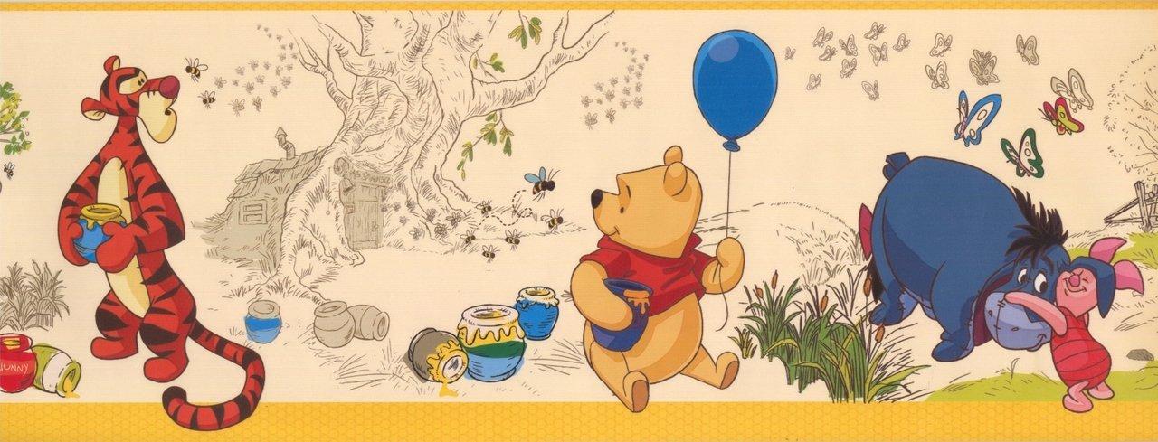 Winnie The Pooh Eeyore Piglet Beige DK5839BD Wallpaper Border