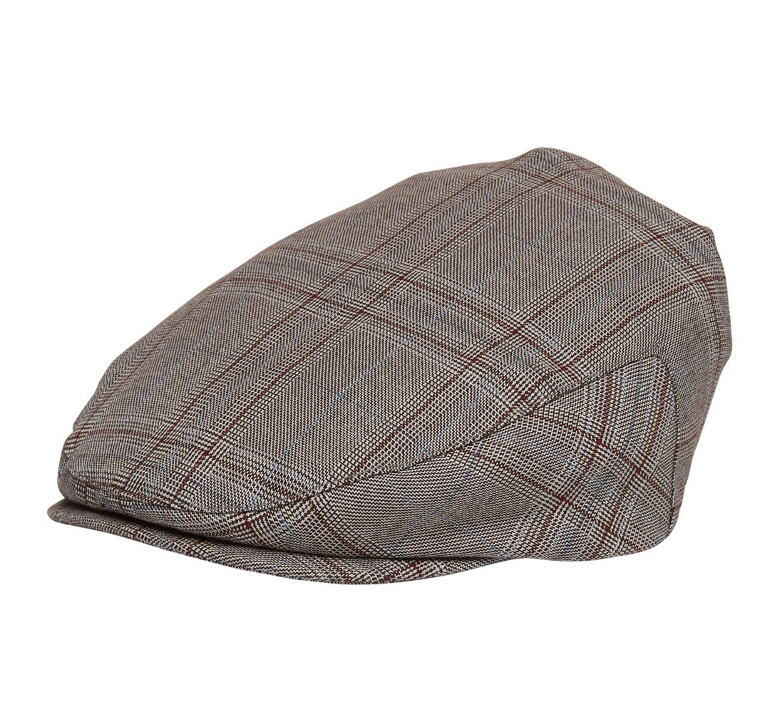 Born to Love Infant Toddler Boys Pinstripe Driver Cap Baby Hat for Kids XL 6 to 8 yrs 56CM, Brown Plaid by Born to Love