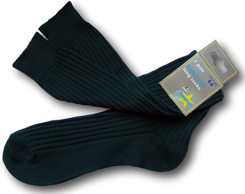 Bottle Green Knee Length School Uniform Ribbed Socks