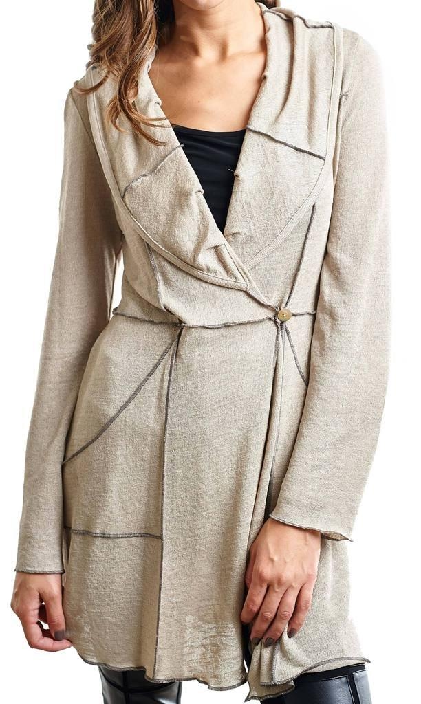Joseph Ribkoff Beige Semi-Sheer Knit Overlap Jacket Style 153436 - Size 8