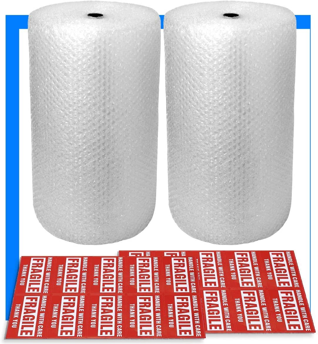 "2-Pack Bubble Cushioning Wrap Rolls, 3/16"" x 12"" x 72' ft Total, Perforated Every 12"", 20 Fragile Stickers for Packaging, Shipping, Mailing"