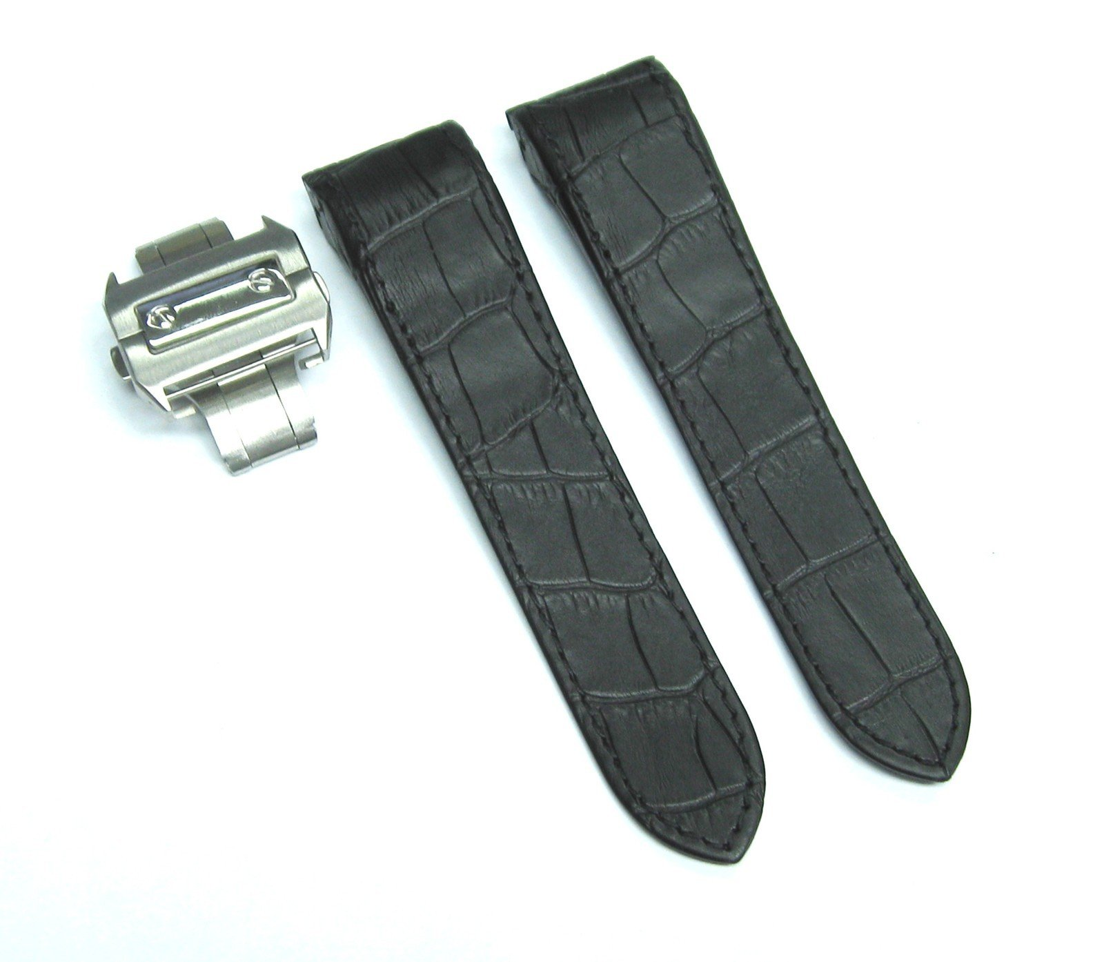 Complete 24.5 Leather Strap Band for Cartier Santos Chrono Blk