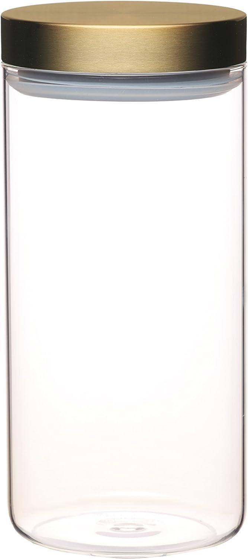 KitchenCraft MasterClass Airtight Glass Food Storage Jar with Brass Lid, Transparent, 1.5 L (2.75 Pints)