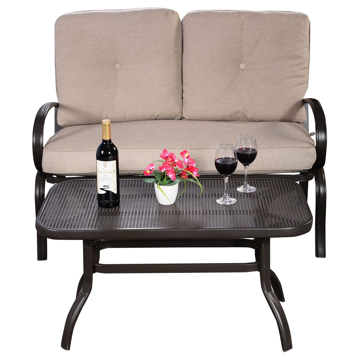Giantex 2 Pcs Patio Outdoor LoveSeat Coffee Table Set Furniture Bench With Cushion by Giantex (Image #2)