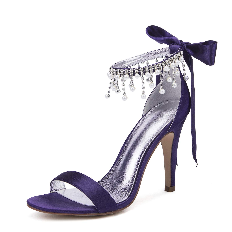 Deepviolet JRYYUE JRYYUE Chaussures de Mariage pour Femmes Strass Peep Toe Satin Talons Hauts Party Demoiselle D'honneur Platform 10.5CM  sortie en ligne