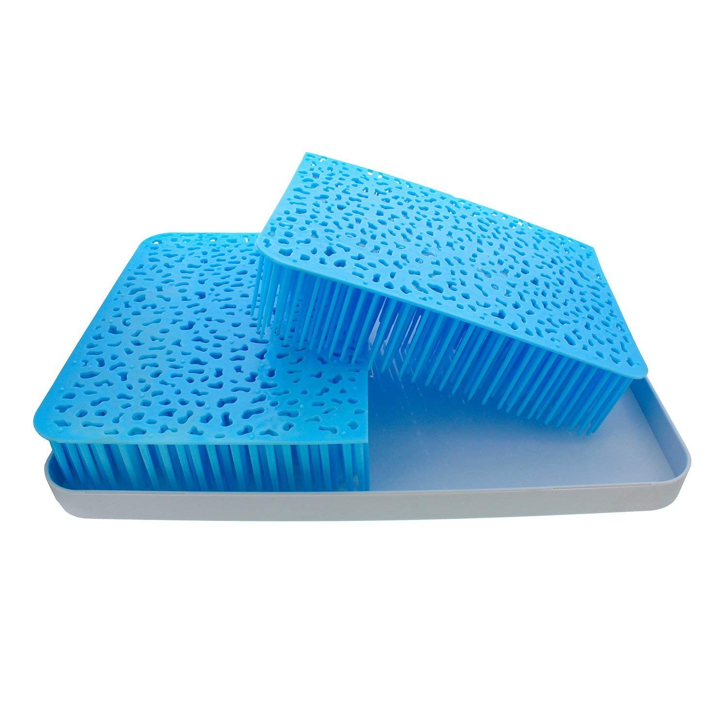 Blue Large Baby Bottle Drying Rack Anti-Bacterial Large Grass for Kitchen Countertop