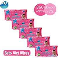 Glider Soft Baby Water Wipes with Aloe Vera,Vitamin E & Mild Fragrance for Babies Sensitive Skin - 72 Wipes/Pack, (Pack of 5)