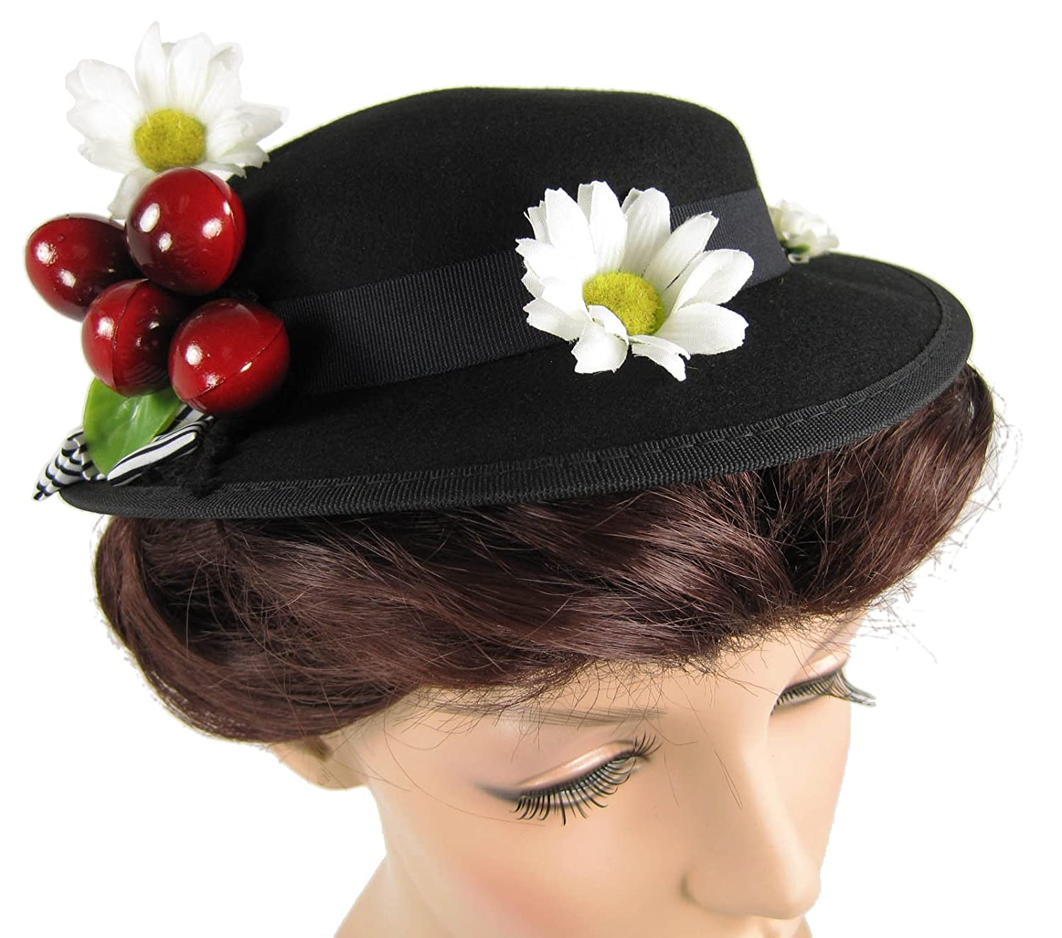 Edwardian Hats, Titanic Hats, Tea Party Hats Womens English Nanny Poppins Costume Hat $48.99 AT vintagedancer.com
