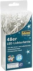 Idena LED Lichterkette für innen und außen, mit Timer, 48er bunt, batteriebetrieben, 30118