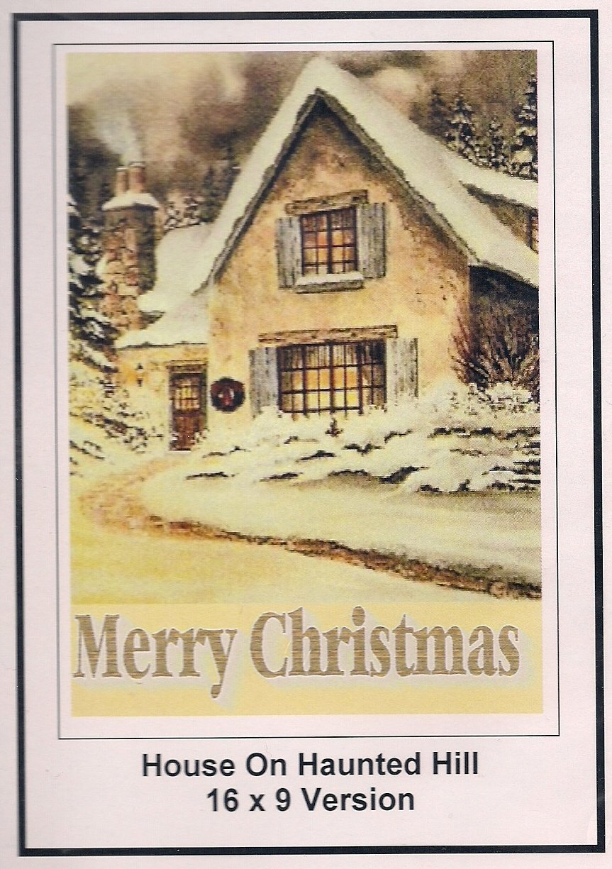 House On HauntedHill: 16x9 Widescreen TV.:Greeting Card: Merry Christmas