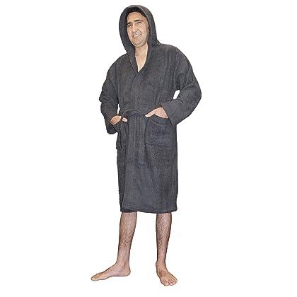 SKYLINEWEARS Mens 100% Terry Cotton Toweling Bathrobe Dressing Robe Hooded  Char S 10961d682