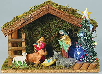 Amazon Com Christmas Nativity Set 8 Pieces Ceramic With Stable And
